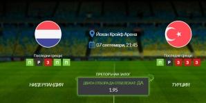 Прогноза: Нидерландия - Турция 07/09/2021 - Квалификационен мач за Мондиал 2022